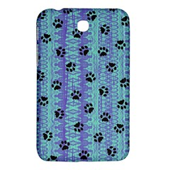 Footprints Cat Black On Batik Pattern Teal Violet Samsung Galaxy Tab 3 (7 ) P3200 Hardshell Case