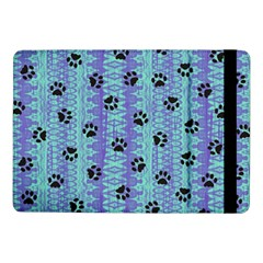 Footprints Cat Black On Batik Pattern Teal Violet Samsung Galaxy Tab Pro 10 1  Flip Case
