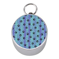 Footprints Cat Black On Batik Pattern Teal Violet Mini Silver Compasses