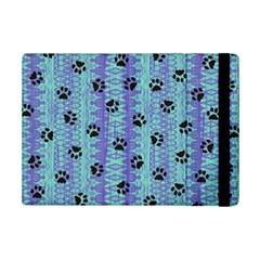 Footprints Cat Black On Batik Pattern Teal Violet Ipad Mini 2 Flip Cases by EDDArt