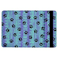 Footprints Cat Black On Batik Pattern Teal Violet Ipad Air Flip by EDDArt