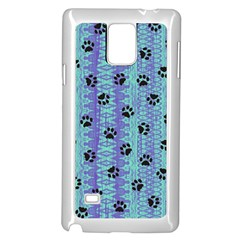 Footprints Cat Black On Batik Pattern Teal Violet Samsung Galaxy Note 4 Case (white) by EDDArt