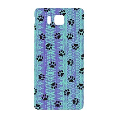 Footprints Cat Black On Batik Pattern Teal Violet Samsung Galaxy Alpha Hardshell Back Case
