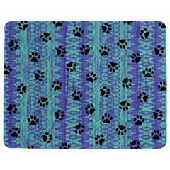 Footprints Cat Black On Batik Pattern Teal Violet Jigsaw Puzzle Photo Stand (rectangular) by EDDArt