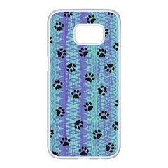 Footprints Cat Black On Batik Pattern Teal Violet Samsung Galaxy S7 Edge White Seamless Case by EDDArt