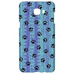Footprints Cat Black On Batik Pattern Teal Violet Samsung C9 Pro Hardshell Case  by EDDArt