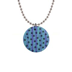 Footprints Cat Black On Batik Pattern Teal Violet Button Necklaces