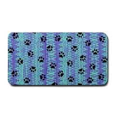 Footprints Cat Black On Batik Pattern Teal Violet Medium Bar Mats