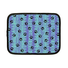 Footprints Cat Black On Batik Pattern Teal Violet Netbook Case (small)  by EDDArt