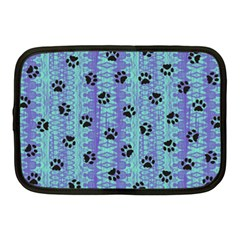 Footprints Cat Black On Batik Pattern Teal Violet Netbook Case (medium)  by EDDArt