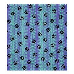 Footprints Cat Black On Batik Pattern Teal Violet Shower Curtain 66  X 72  (large)