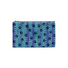 Footprints Cat Black On Batik Pattern Teal Violet Cosmetic Bag (small) by EDDArt