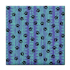 Footprints Cat Black On Batik Pattern Teal Violet Tile Coasters by EDDArt