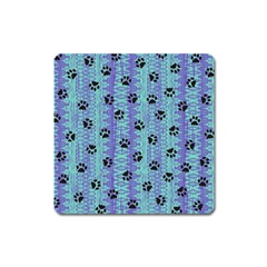 Footprints Cat Black On Batik Pattern Teal Violet Square Magnet by EDDArt