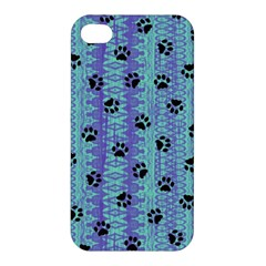 Footprints Cat Black On Batik Pattern Teal Violet Apple Iphone 4/4s Premium Hardshell Case by EDDArt