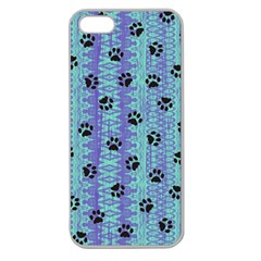 Footprints Cat Black On Batik Pattern Teal Violet Apple Seamless Iphone 5 Case (clear) by EDDArt
