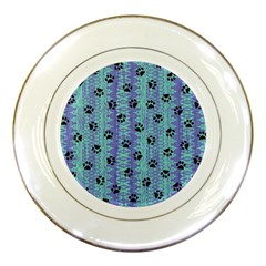 Footprints Cat Black On Batik Pattern Teal Violet Porcelain Plates by EDDArt