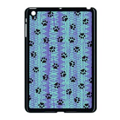 Footprints Cat Black On Batik Pattern Teal Violet Apple Ipad Mini Case (black) by EDDArt