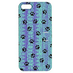 Footprints Cat Black On Batik Pattern Teal Violet Apple Iphone 5 Hardshell Case With Stand by EDDArt