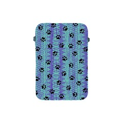 Footprints Cat Black On Batik Pattern Teal Violet Apple Ipad Mini Protective Soft Cases by EDDArt