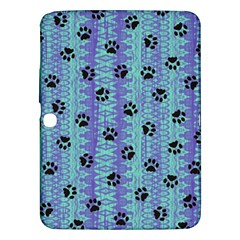 Footprints Cat Black On Batik Pattern Teal Violet Samsung Galaxy Tab 3 (10 1 ) P5200 Hardshell Case  by EDDArt