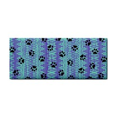 Footprints Cat Black On Batik Pattern Teal Violet Hand Towel