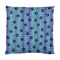 Footprints Cat Black On Batik Pattern Teal Violet Standard Cushion Case (two Sides)