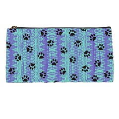 Footprints Cat Black On Batik Pattern Teal Violet Pencil Cases