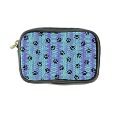 Footprints Cat Black On Batik Pattern Teal Violet Coin Purse