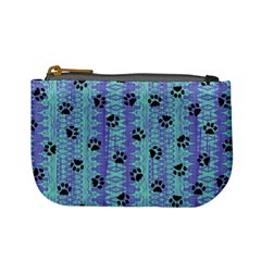 Footprints Cat Black On Batik Pattern Teal Violet Mini Coin Purses by EDDArt