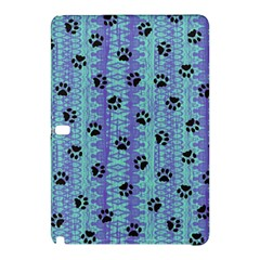 Footprints Cat Black On Batik Pattern Teal Violet Samsung Galaxy Tab Pro 10 1 Hardshell Case