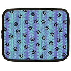 Footprints Cat Black On Batik Pattern Teal Violet Netbook Case (xxl)
