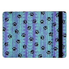 Footprints Cat Black On Batik Pattern Teal Violet Samsung Galaxy Tab Pro 12 2  Flip Case