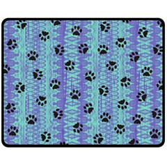 Footprints Cat Black On Batik Pattern Teal Violet Fleece Blanket (medium)