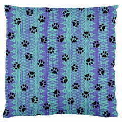 Footprints Cat Black On Batik Pattern Teal Violet Large Flano Cushion Case (one Side)