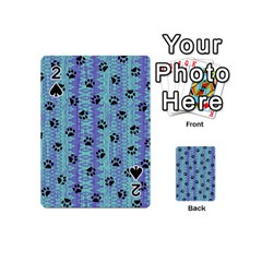 Footprints Cat Black On Batik Pattern Teal Violet Playing Cards 54 (mini)