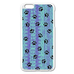 Footprints Cat Black On Batik Pattern Teal Violet Apple Iphone 6 Plus/6s Plus Enamel White Case