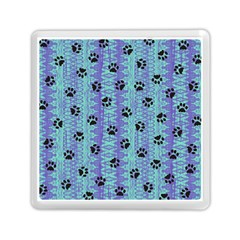 Footprints Cat Black On Batik Pattern Teal Violet Memory Card Reader (square) by EDDArt