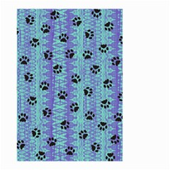 Footprints Cat Black On Batik Pattern Teal Violet Small Garden Flag (two Sides)