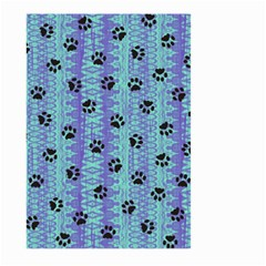 Footprints Cat Black On Batik Pattern Teal Violet Large Garden Flag (two Sides)