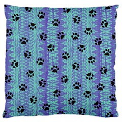Footprints Cat Black On Batik Pattern Teal Violet Large Cushion Case (one Side)