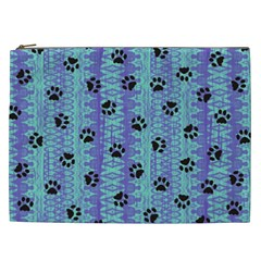 Footprints Cat Black On Batik Pattern Teal Violet Cosmetic Bag (xxl)