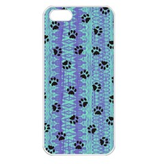 Footprints Cat Black On Batik Pattern Teal Violet Apple Iphone 5 Seamless Case (white) by EDDArt