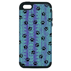 Footprints Cat Black On Batik Pattern Teal Violet Apple Iphone 5 Hardshell Case (pc+silicone) by EDDArt