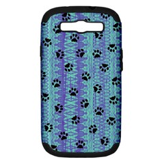 Footprints Cat Black On Batik Pattern Teal Violet Samsung Galaxy S Iii Hardshell Case (pc+silicone)
