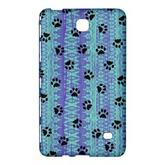 Footprints Cat Black On Batik Pattern Teal Violet Samsung Galaxy Tab 4 (8 ) Hardshell Case