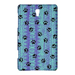 Footprints Cat Black On Batik Pattern Teal Violet Samsung Galaxy Tab S (8 4 ) Hardshell Case