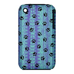 Footprints Cat Black On Batik Pattern Teal Violet Iphone 3s/3gs by EDDArt