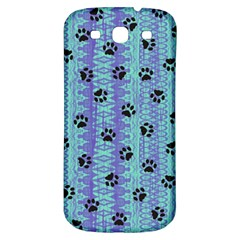 Footprints Cat Black On Batik Pattern Teal Violet Samsung Galaxy S3 S Iii Classic Hardshell Back Case