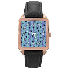 Footprints Cat Black On Batik Pattern Teal Violet Rose Gold Leather Watch